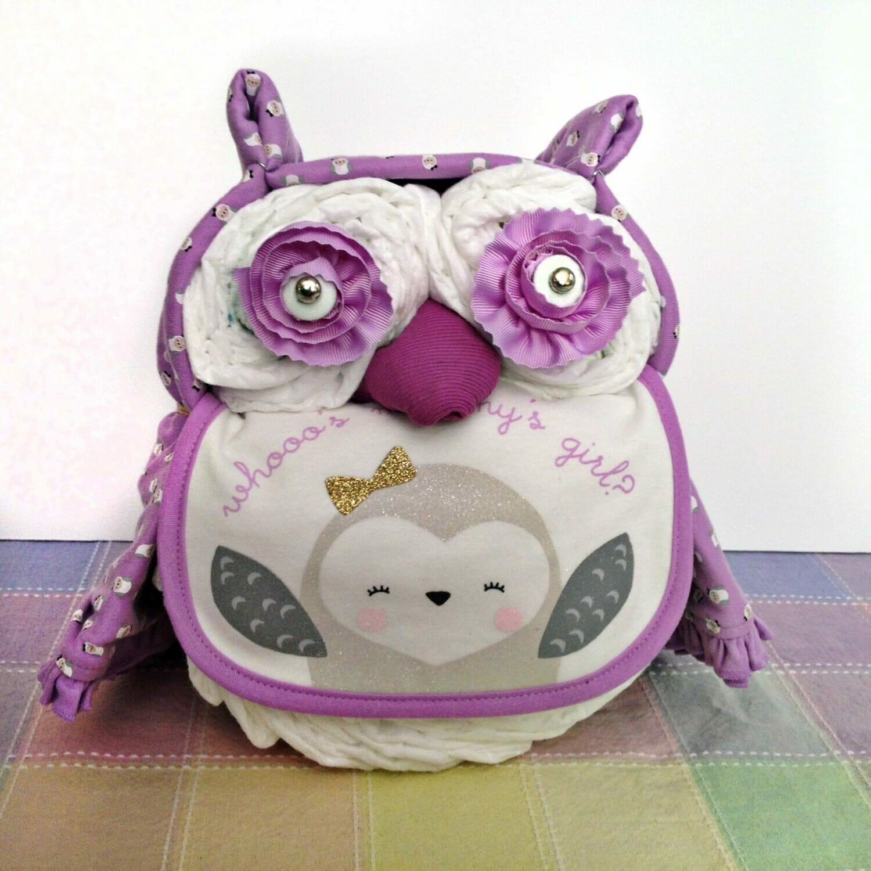 How To Make Baby Shower Diaper Cake: Owl Diaper Cake
