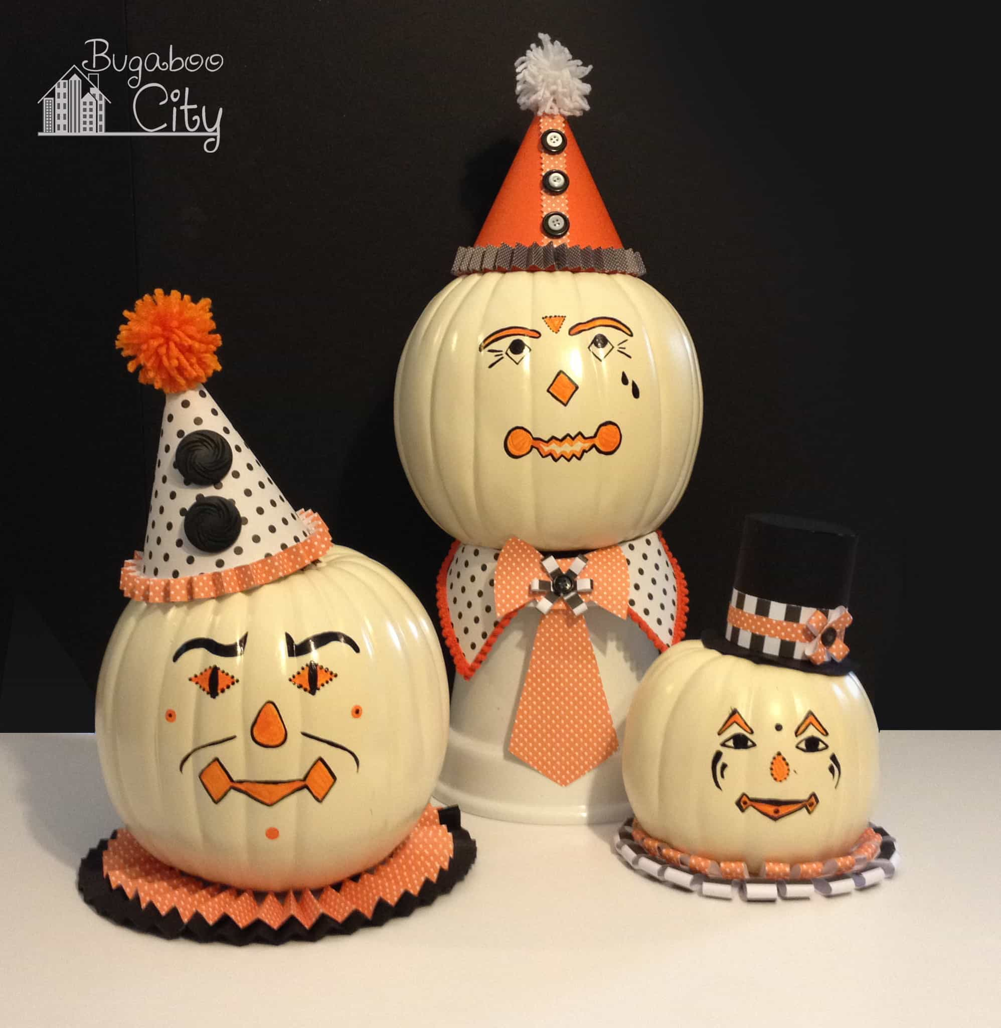Diy Vintage Clown Pumpkins Decorating With Paper And