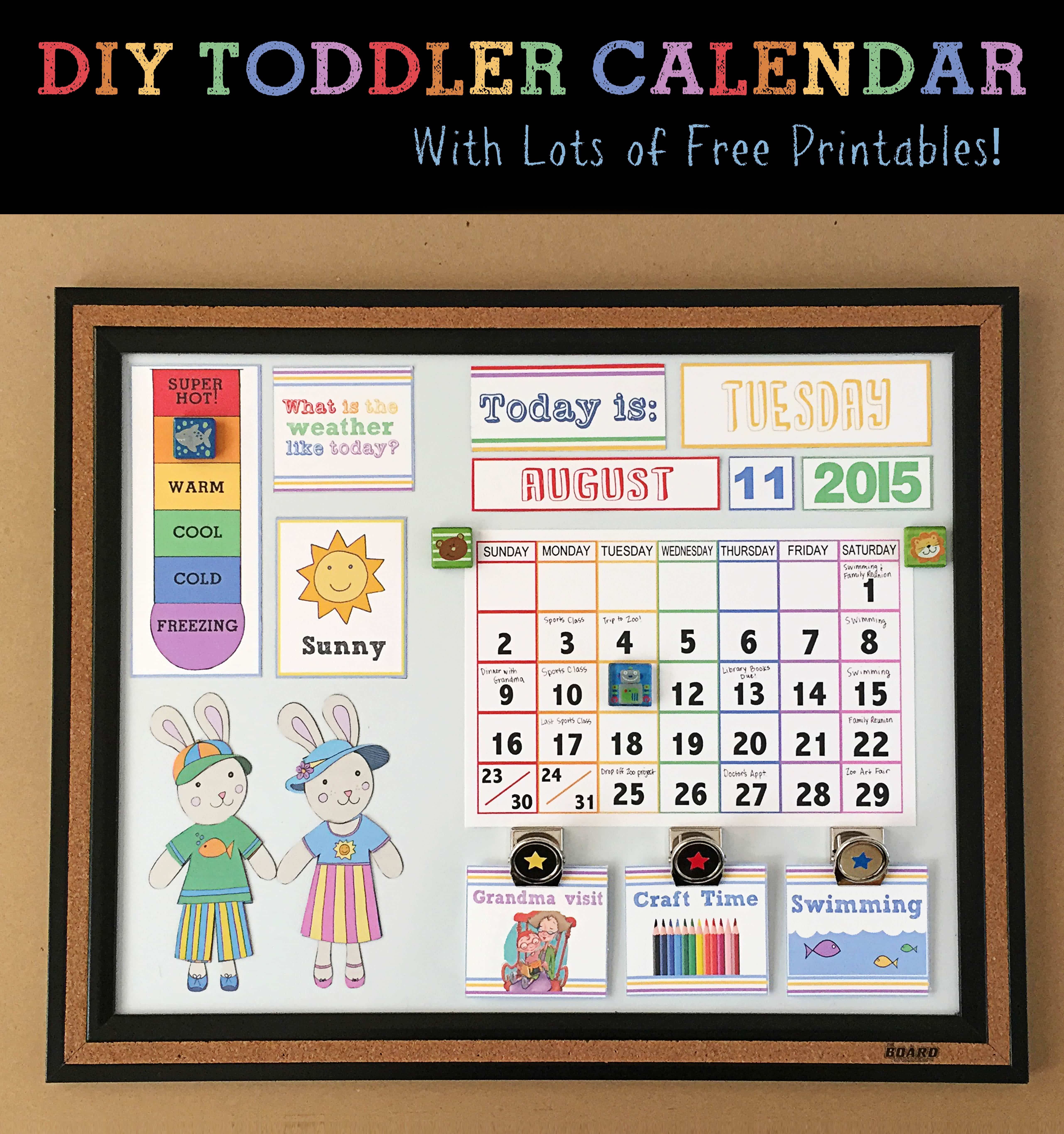 Diy Toddler Calender Magnet Board Lots Of Free Printables