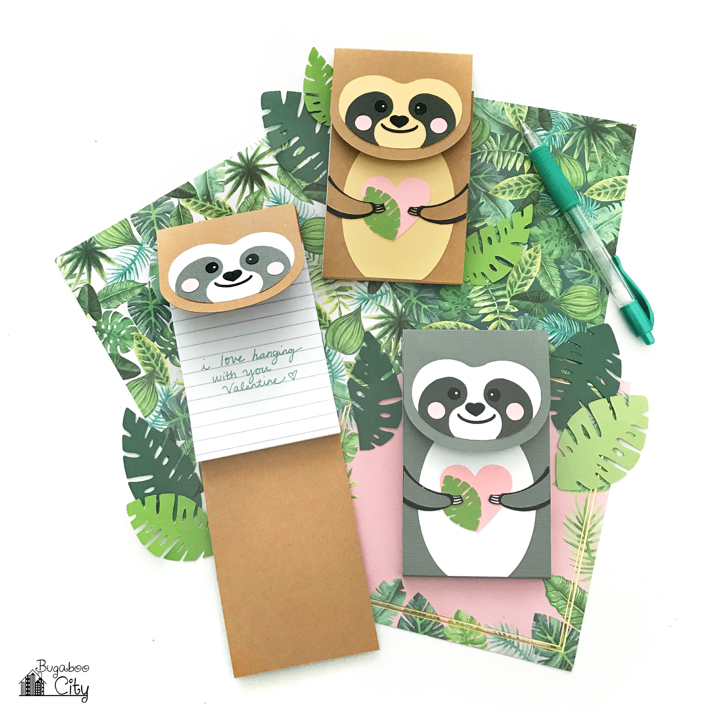 sloth diy notepads paper crafts printables craft printable notepad cricut valentine template pattern patterns projects bugaboo cut svg valentines file