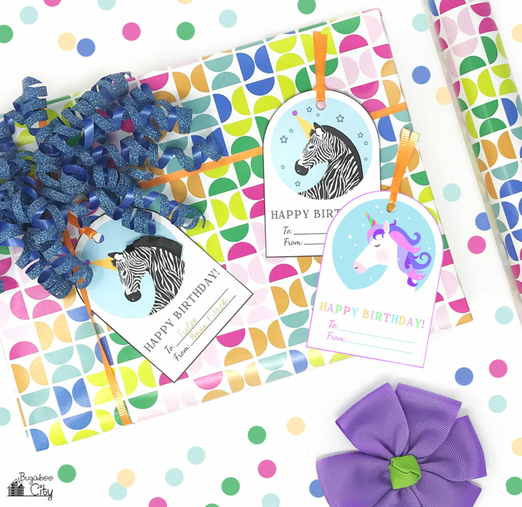 Free Printable Unicorn And Zebra Happy Birthday Tags Bugaboocity