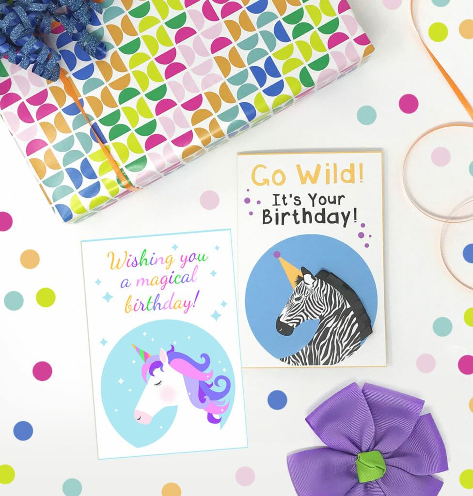 Free Printable Unicorn And Zebra Birthday Cards