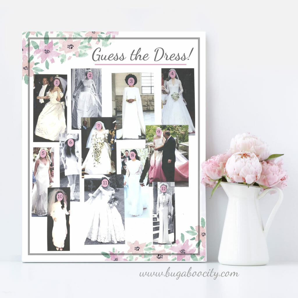 diy bridal shower game guess the dress printable game kits by bugaboocity