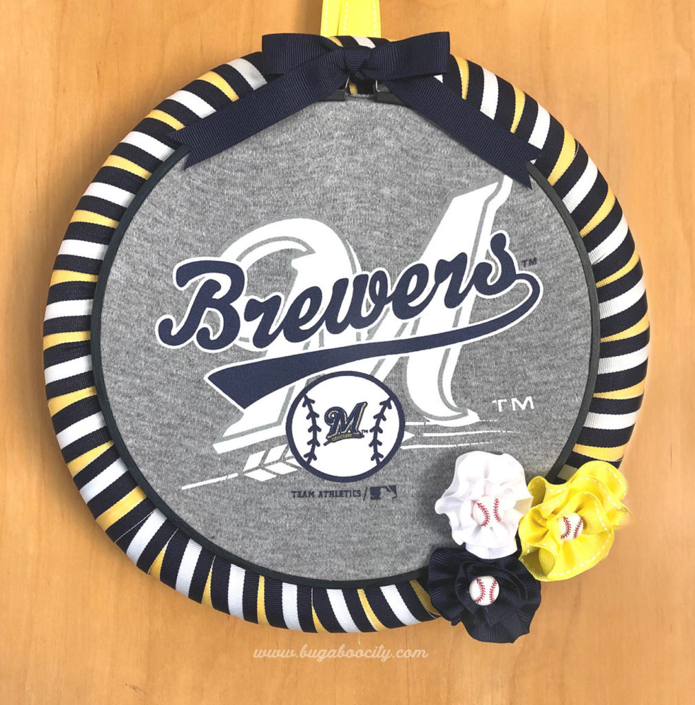 ea2905b39 DIY Baseball Wreath Tutorial - Made from an upcycled baby onesie!